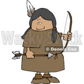 Female Native American Indian Holding a Bow an Arrow Clipart © djart #4615