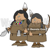 Two Female Indian Warriors Holding a Knife, Hatchet, and Bow an Arrow Clipart © Dennis Cox #4618