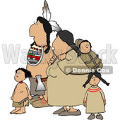 Indian Family Hiking Together Clipart © Dennis Cox #4619