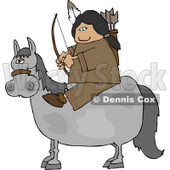 Male Indian Sitting On a Horse with Bow an Arrow Clipart © Dennis Cox #4620