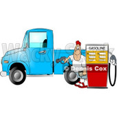 Man at the Gas Station Pumping Diesel Fuel Into His Pickup Truck Clipart © Dennis Cox #4623