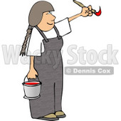 Young Girl Artist Painting with a Paintbrush and Bucket of Red Paint Clipart © djart #4624