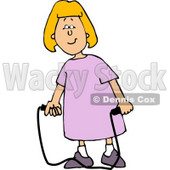 Happy Girl with a Jump Rope Clipart © Dennis Cox #4625