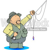 Fly Fisherman Standing in Water with a Baited Hook On a Rod and Reel Clipart © Dennis Cox #4626