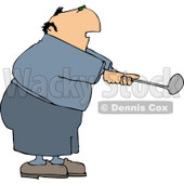 Overweight Elderly Man Swinging a Golf Club Clipart © djart #4628