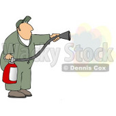 Repairman Spraying Fire Extinguisher On a Fire Clipart © djart #4631