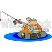 Float Tube Fisherman Fishing in a Lake Clipart © Dennis Cox #4633