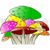 Royalty-Free (RF) Clipart Illustration of a Colorful Mushroom Patch © djart #46338