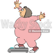 Fat Girl Weighing Herself On a Scale Clipart © Dennis Cox #4634