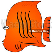 Royalty-Free (RF) Clipart Illustration of a Tropical Orange Fish With Black Wavy Lines © Dennis Cox #46340