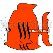 Royalty-Free (RF) Clipart Illustration of a Black And Orange Tropical Fish With Bubbles © Dennis Cox #46341