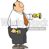 Businessman Shining Flashlights in Dark Places Clipart © Dennis Cox #4636