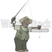African American Fly Fisherman Getting Ready to Go Fishing Clipart © Dennis Cox #4639