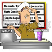 Teenage Boy Working the Cash Register at a Fast Food Mexican Restaurant Clipart © Dennis Cox #4641