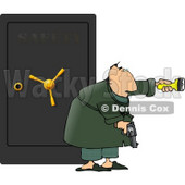Armed Man Guarding a Safe Full of Family Jewels Clipart © Dennis Cox #4642