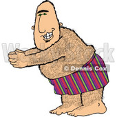 Overweight Hairy Man Going Swimming Clipart © Dennis Cox #4644