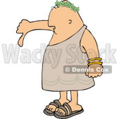 Disagreeing Emperor Pointing His Thumb Down Clipart © Dennis Cox #4645