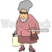 Grandma Carrying a Shopping Bag & Purse Clipart © djart #4646