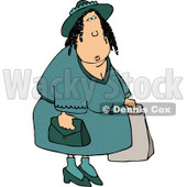 Overweight Woman Shopping Around Clipart © Dennis Cox #4647