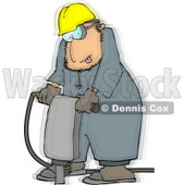 Vibrating Worker Operating a Portable Jackhammer Clipart © Dennis Cox #4648