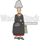 Elderly Woman Carrying a Purse and Shopping Bag Clipart © djart #4649