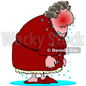 Elderly Menopause Woman Having a Hot Flash Clipart © Dennis Cox #4653
