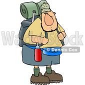 Adventurous Male Hiker Carrying Backpack and Camping Gear Clipart © djart #4654
