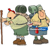 Two Male Hikers with Backpacks and Hiking Gear Clipart © Dennis Cox #4655