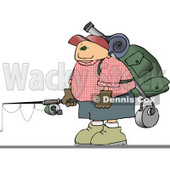 Young Male Hiker Carrying Camping Gear and a Fishing Pole Clipart © djart #4657