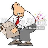 Clipart Picture of a Businessman Cracking and Injuring His Lower Back While Lifting a Heavy Box the Wrong Way Illustration © Dennis Cox #4661
