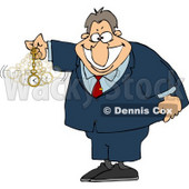 Expert in Hypnotism Waving a Clock Back and Forth Clipart © Dennis Cox #4665