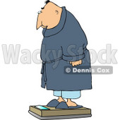Overweight Man Measuring His Weight On a Standard Bathroom Scale Clipart © djart #4667