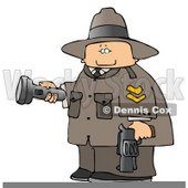 Ranger Armed with a Gun and Pointing a Flashlight Clipart © djart #4670