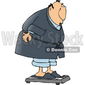 Fat Man Weighing Himself On a Standard Bathroom Scale Clipart © djart #4672