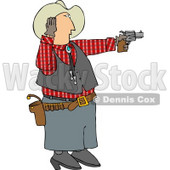 Cowboy Covering His Ear While Shooting a Loud Gun Clipart © Dennis Cox #4674