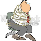 Hostage Businessman Tied with Rope to a Chair Clipart © djart #4676