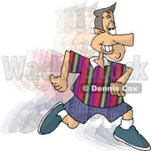 Smiley Man Running and Burning Calories Clipart © djart #4679