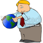 Businessman Pointing Out America On a Globe Clipart © Dennis Cox #4680