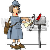 Female Mail Carrier Delivering Mail Into a Mailbox Clipart © Dennis Cox #4683