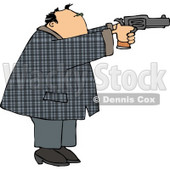 Convicted Male Criminal Pointing and Shooting a Gun Clipart © djart #4689