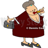 Obese Woman Putting On Lipstick and Going Out On a Blind Date Clipart © djart #4690