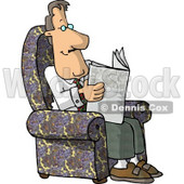 Man Sitting In His Chair and Reading the Newspaper Clipart © Dennis Cox #4692