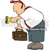 Male Worker Carrying a Toolbox and Pointing a Flashlight in the Dark Clipart © djart #4693