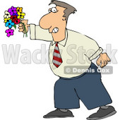 Man Holding a Colorful Bouquet of Flowers with a Grin On His Face Clipart © djart #4694