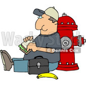Male Worker Eating His Lunch Outside Against a Fire Extinguisher Clipart © Dennis Cox #4700