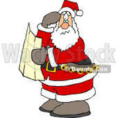 Lost Santa Clause Holding a Map and Looking for Directions Clipart © Dennis Cox #4703