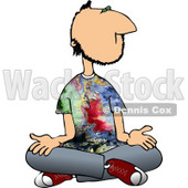 Male Hippie Meditating Clipart © Dennis Cox #4705