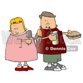 Boy and Girl Eating Food Together Clipart © Dennis Cox #4706