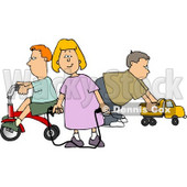 Young Girl and Boys Playing with Toys Clipart © Dennis Cox #4709