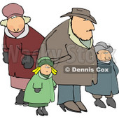 Family Going Out Together During the Winter Season Clipart © Dennis Cox #4710